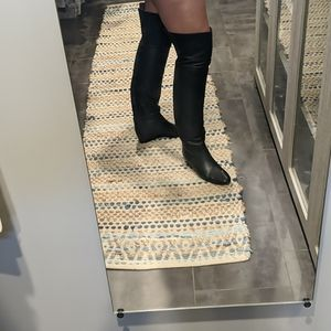 Lanvin Thigh High Black Leather Boots. Size 39